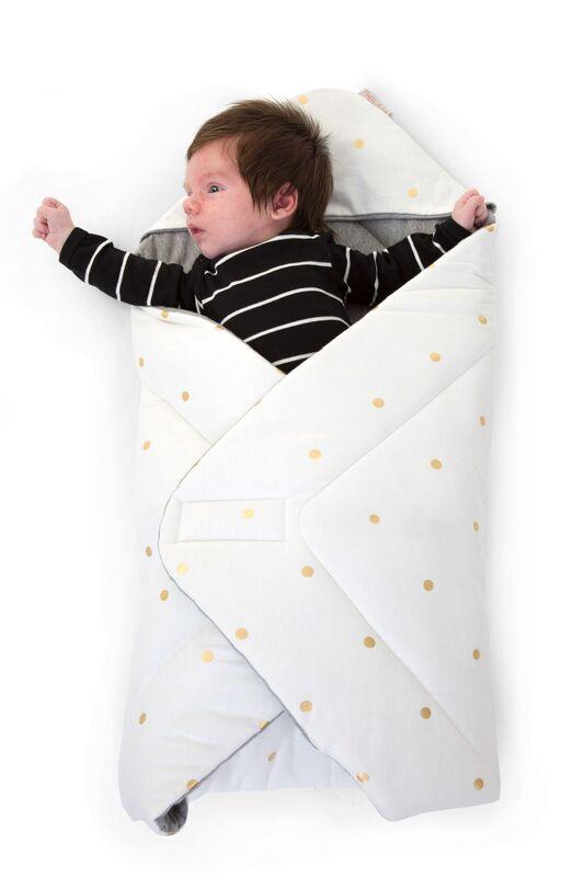 Couverture enveloppante 75 x 75 cm Jersey Gold Dots Childhome Enfant