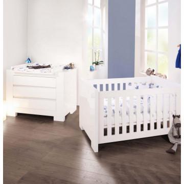 Chambre bébé Sky blanc: Lit, commode, armoire Pinolino Produit