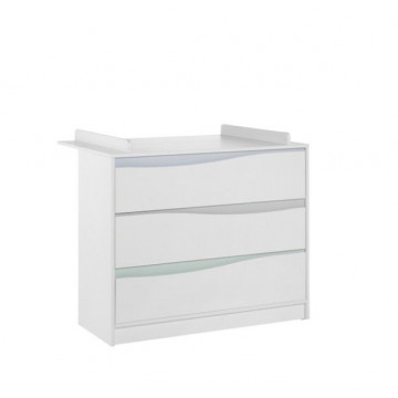 Commode à langer WAVE 3 tiroirs Blanche_Pastel Geuther