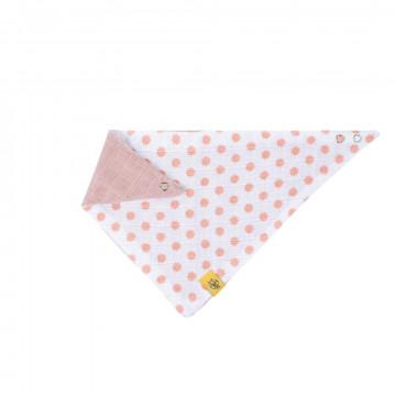 Bavoir bandana mousseline coton Little Chums étoiles Rose clair réversible Lassig-Bambinou