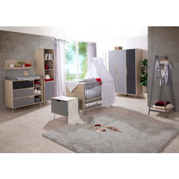 Chambre Marit Gris / Acacia : lit, commode Geuther