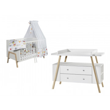 Chambre HOLLY NATURE SCHARDT lit kit transformation commode