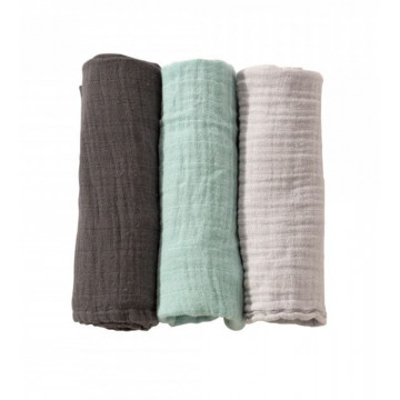Lot de 3 langes 70 x 70 cm Pastel Vert Trois Kilos Sept Produit