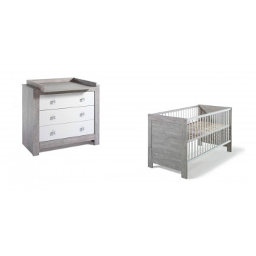 Chambre Nordic Driftwood : lit kit-transformation commode