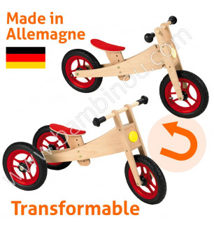 Tricycle enfant bois naturel 2 in 1 Bike Geuther BamBinou