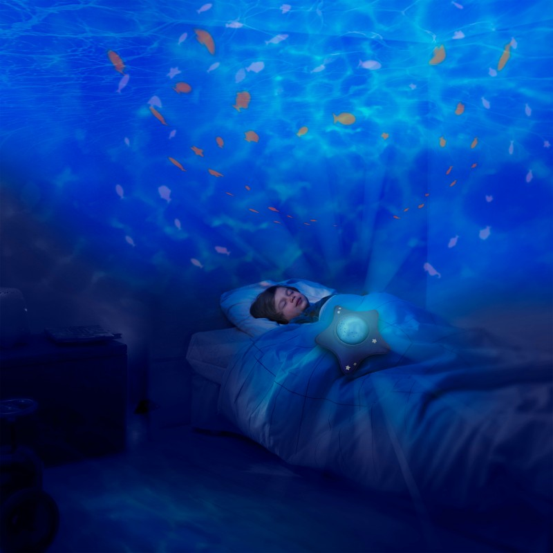 Projecteur musical Aqua Calm Ocean dans le noir Pabobo BamBinou