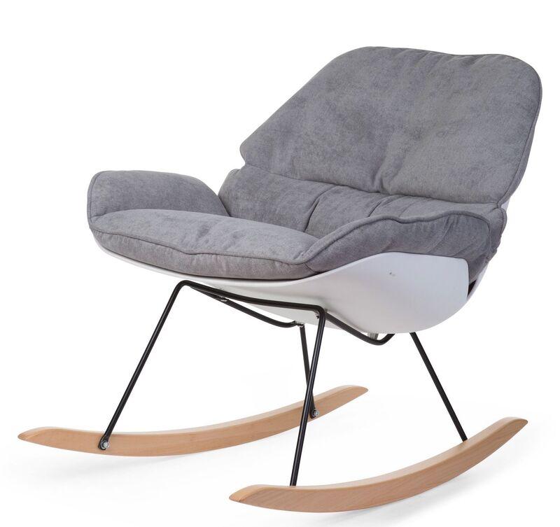 Fauteuil d'allaitement Rocking Chaise Lounge Blanc/Gris Childhome Latéral