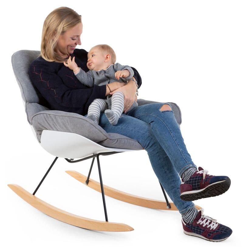 Fauteuil d'allaitement Rocking Chaise Lounge Blanc/Gris Childhome Maman