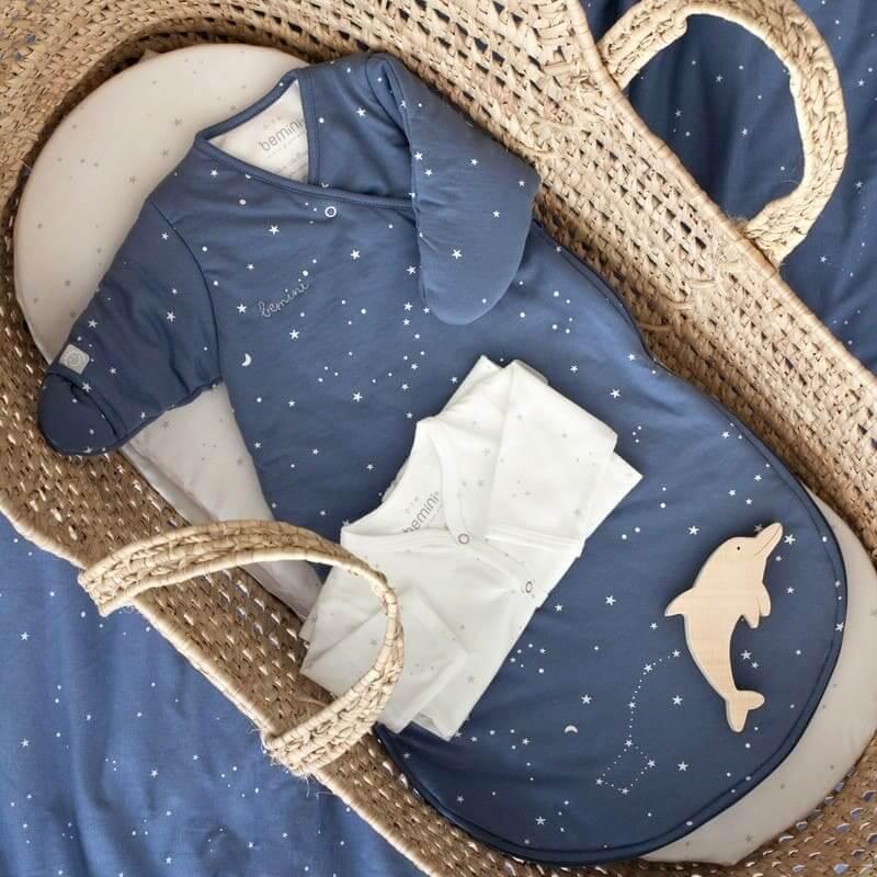 Gigoteuse hiver Magic Bag Pady Jersey Étoiles bleu denim Bemini Maison