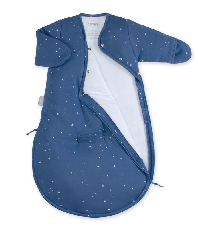 Gigoteuse hiver Magic Bag Pady Jersey Étoiles bleu denim Bemini Ouverte