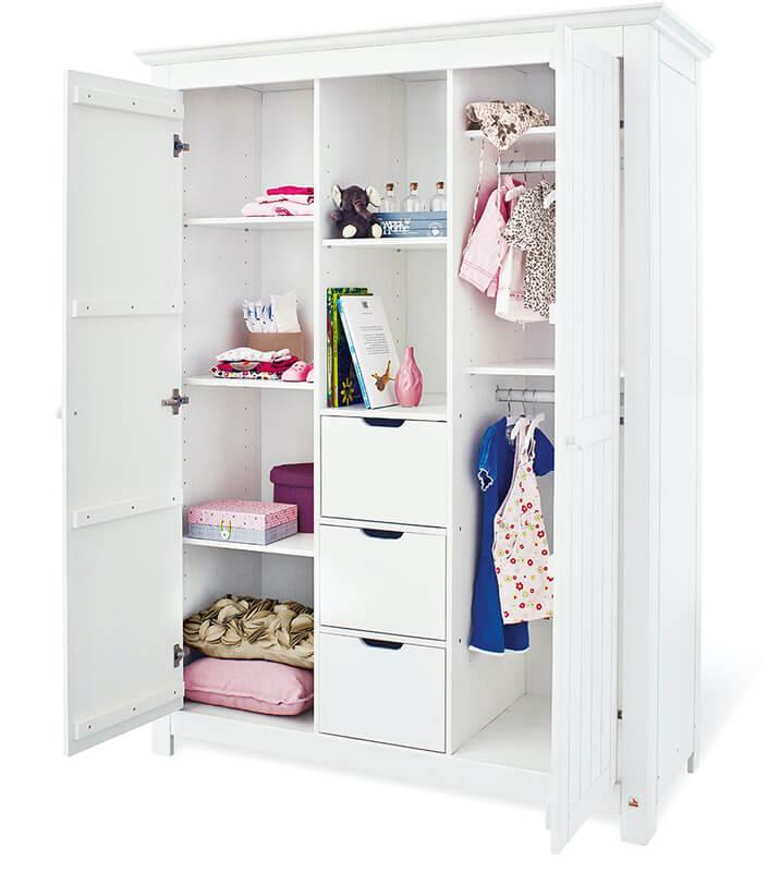 Chambre bébé Nina blanc: Lit, commode, armoire Pinolino Ouvert