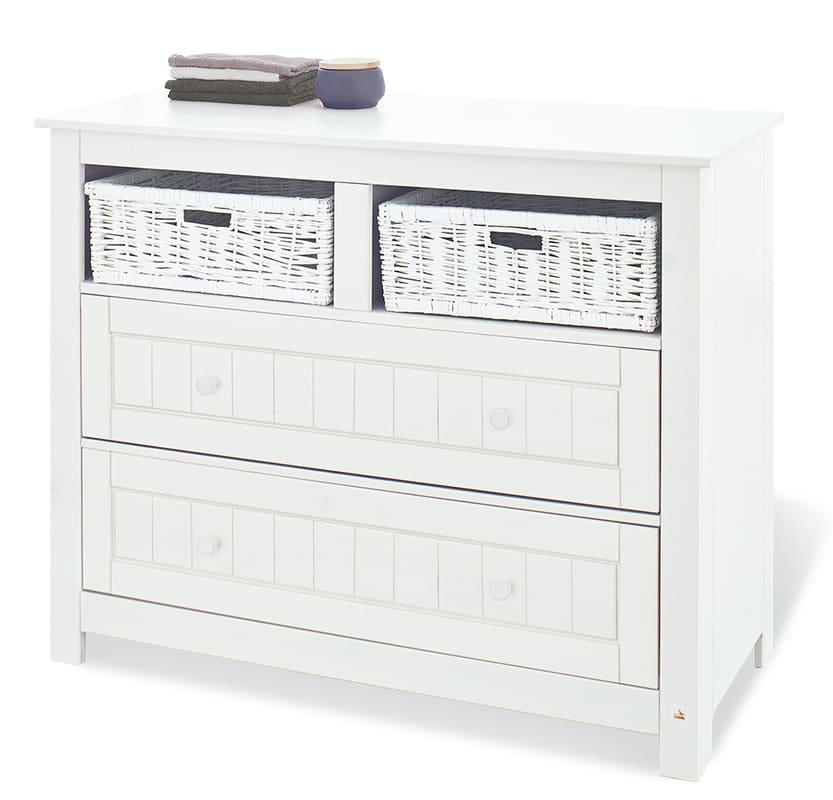 Chambre bébé Nina blanc: Lit, commode, armoire Pinolino Commode