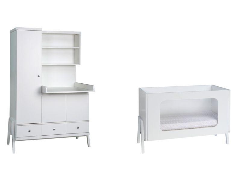 Chambre Holly Blanc : lit bébé 60x120 armoire combinée Schardt BamBinou