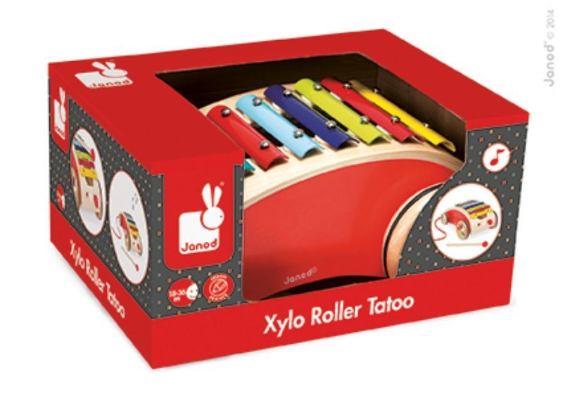 Xylo roller rouge tatoo à tirer Janod boite