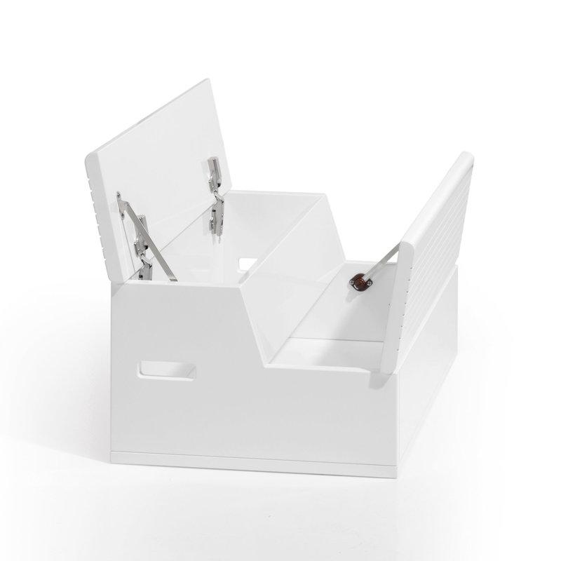 Escalier-coffre à jouet pour lit transformable Blanc Mat ouvert Alondra