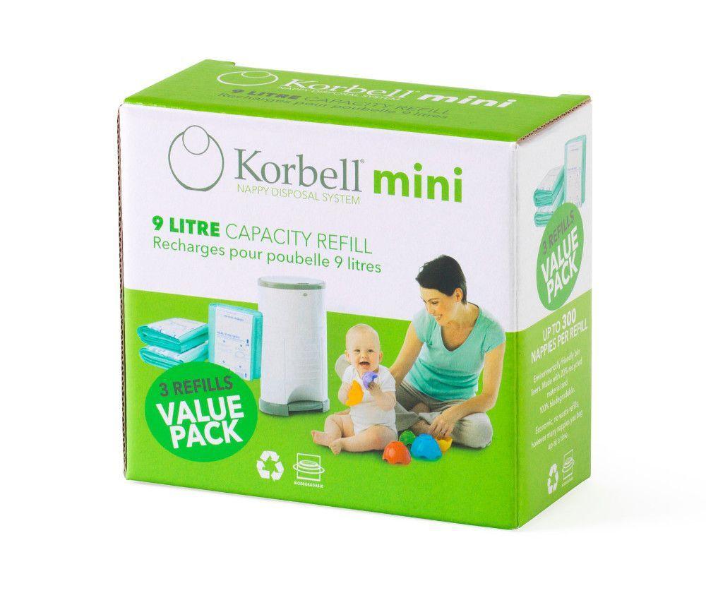 Pack de 3 recharges poubelle à couches Korbell