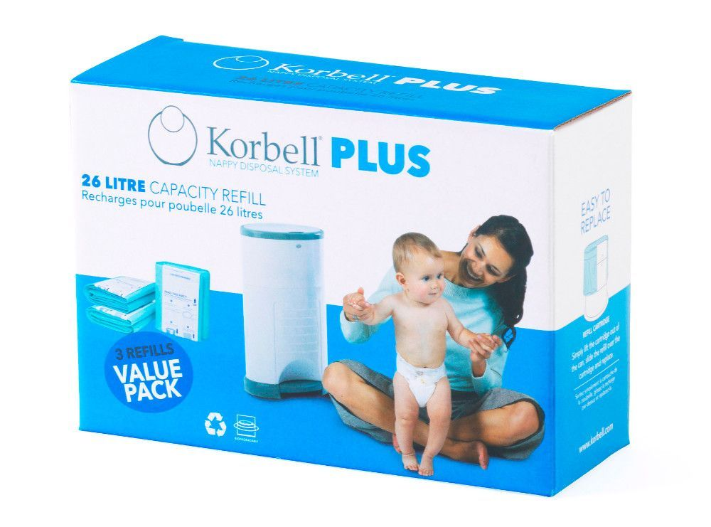 Pack poubelle à couches anti-odeurs 26L + 3 recharges Korbell recharge