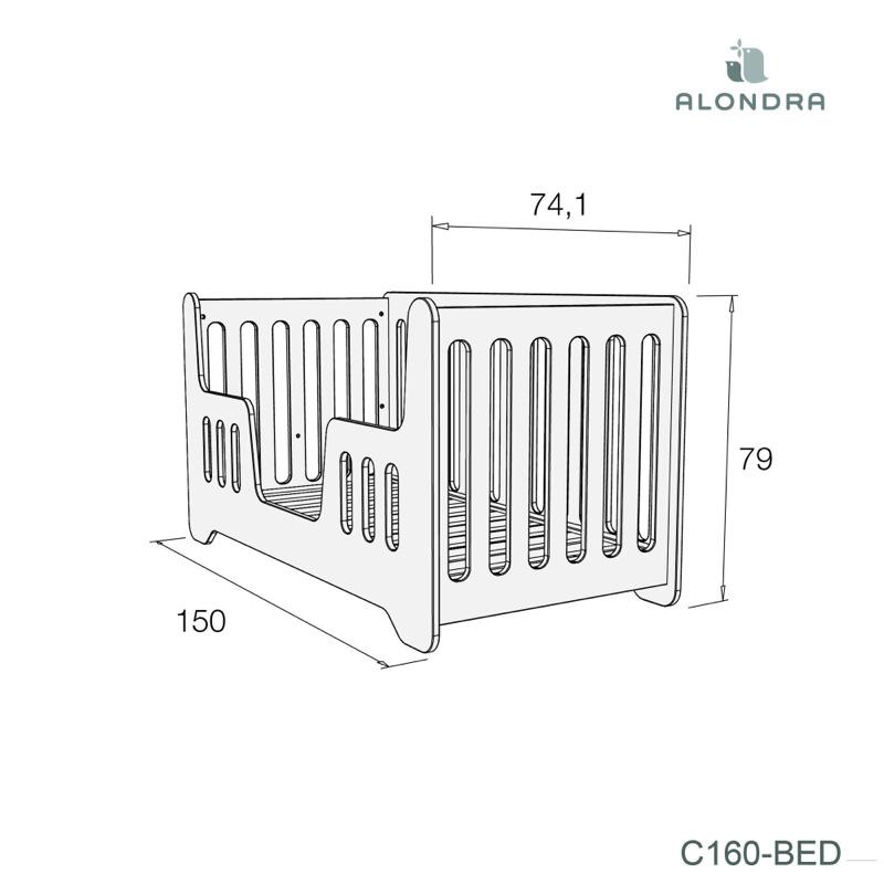 Lit bébé évolutif 70 x 140 cm mare Alondra cadet dimensions