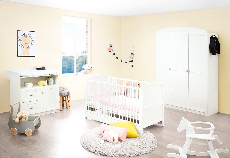Lit bébé évolutif Laura bois blanc 70 x 140 Pinolino Chambre