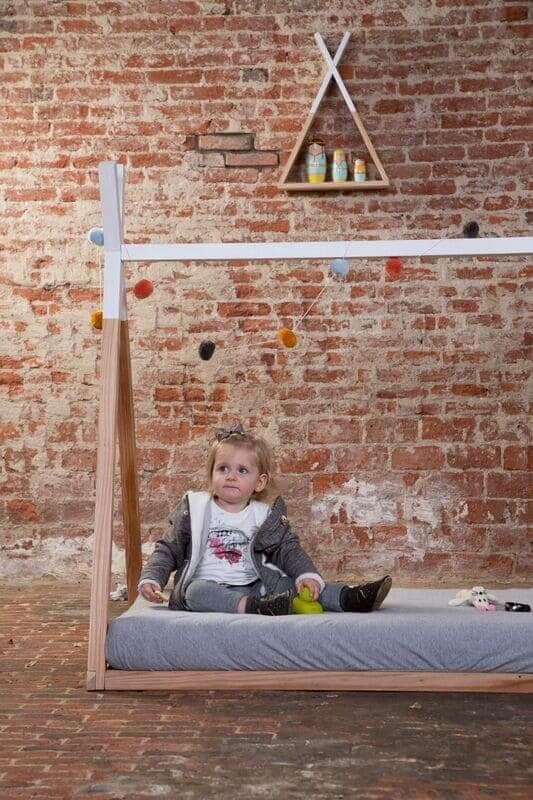 Lit enfant Tipi 70 x 140 cm Naturel/Blanc Childhome Enfant
