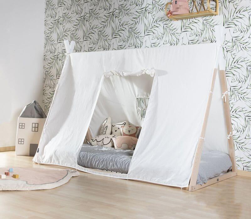 Lit enfant Tipi 90 x 200 cm Naturel/Blanc Childhome Déco
