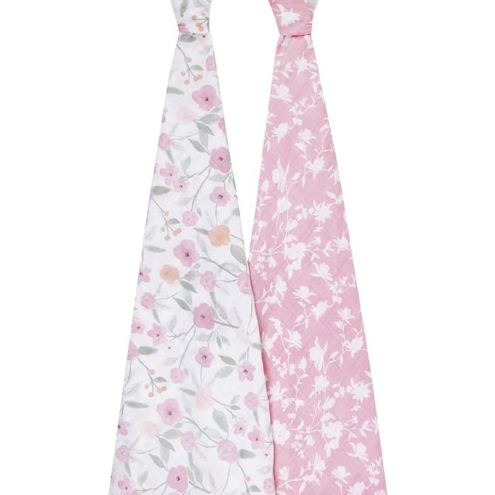 Lot de 2 maxi langes Cotton Muslin 120 x 120 cm Ma Fleur Aden + Anais  Ouvert