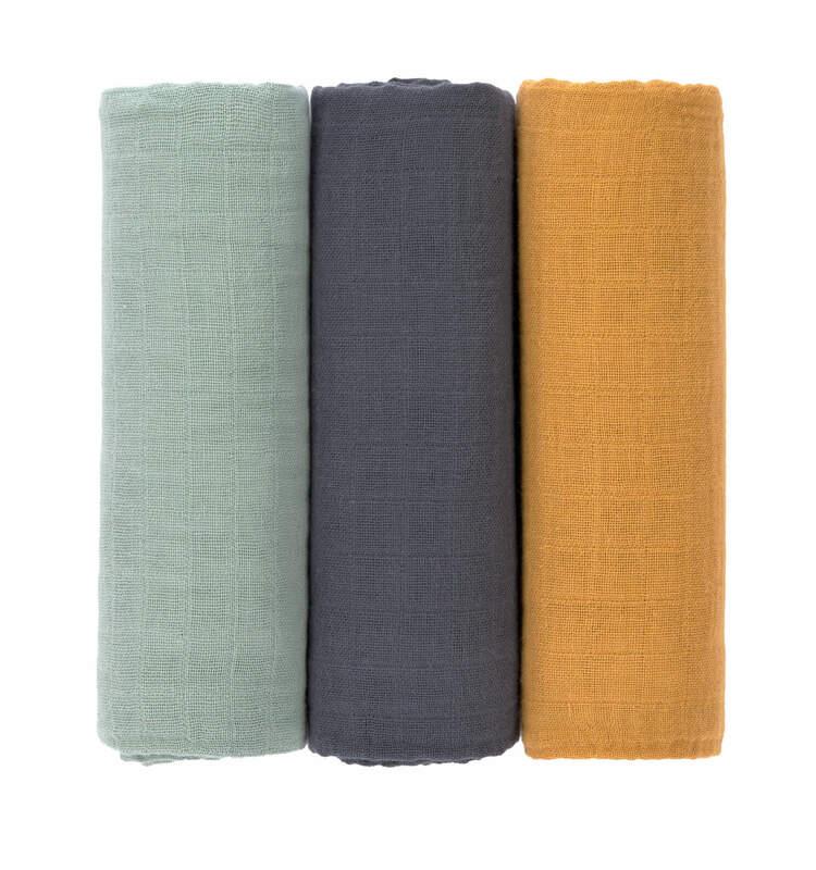 Lot de 3 langes Vert / Bleu marine / Moutarde 85 x 85 cm Lassig Produit