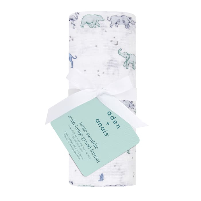 Maxi lange cotton muslin 120 x 120 Follow the star  Aden + Anais Packaging