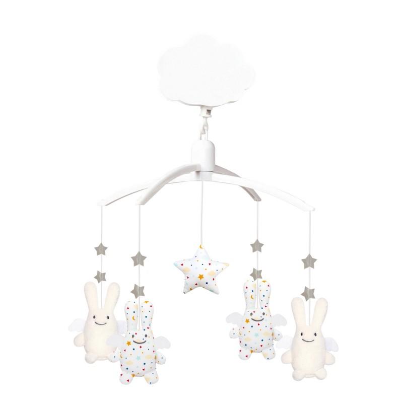 mobile-musical-ange lapin-etoiles-trousselier-bambinou