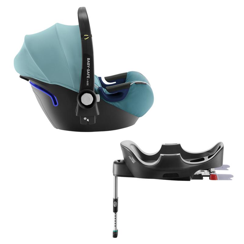 Pack siège-auto Baby Safe 2 iSize groupe 0 avec base isofix flex lagoon green Britax Romer Bambinou