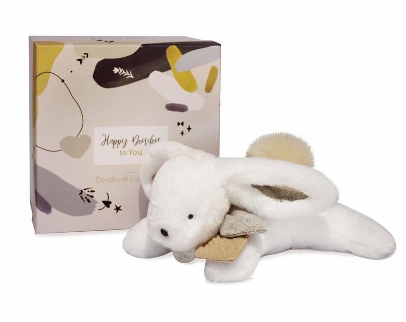 Pantin Happy Wild Pompon Naturel 25 cm Doudou et Compagnie Packaging