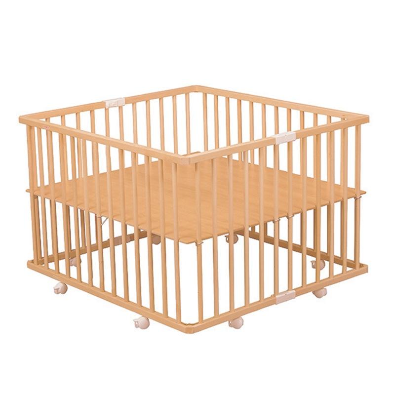 Parc pliant carré Gaby avec plancher pliant réglable vernis naturel Combelle fond position haute