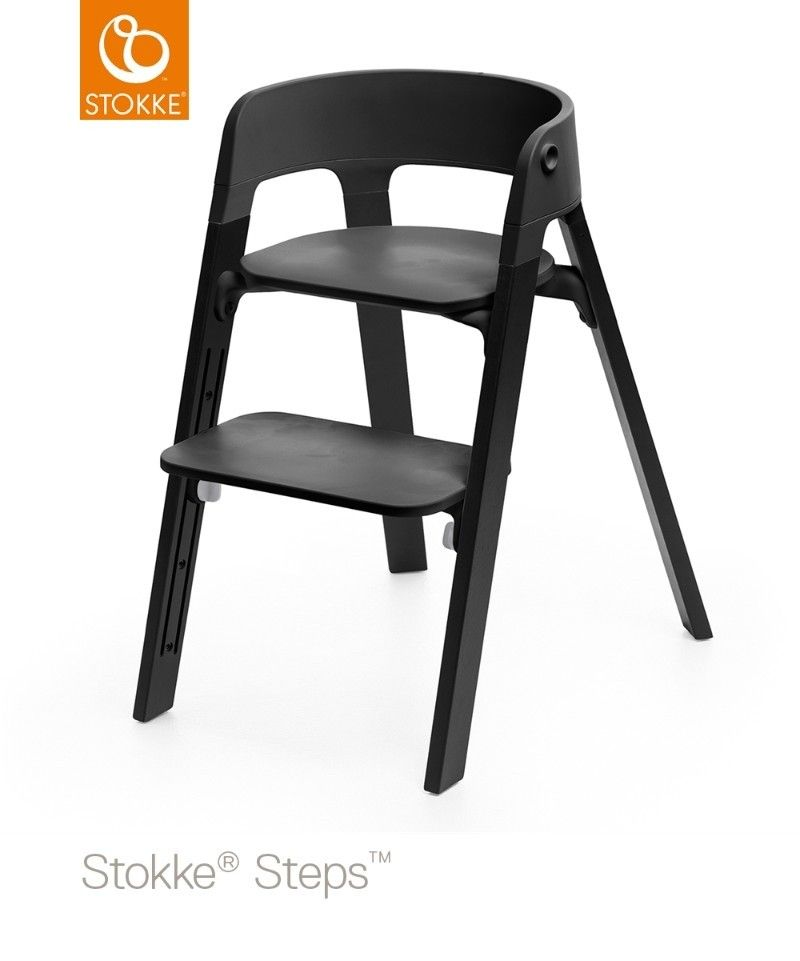 Chaise haute pieds bois de chêne, baby set et plateau Steps