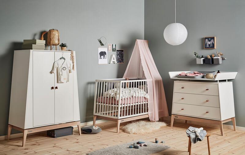 Chambre Luna Blanc : lit, commode, armoire Leander Set
