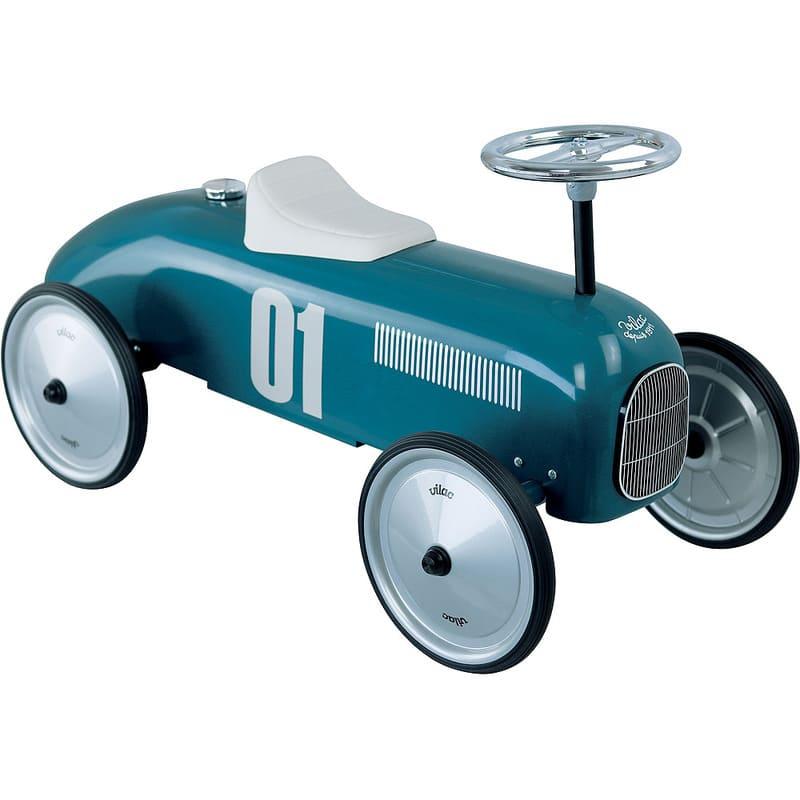 Porteur voiture vintage bleu pétrole Vilac Latéral