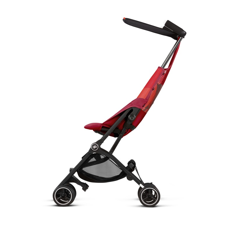 Poussette canne ultra compacte Pockit Air Tout-Terrain rose red GB de côté