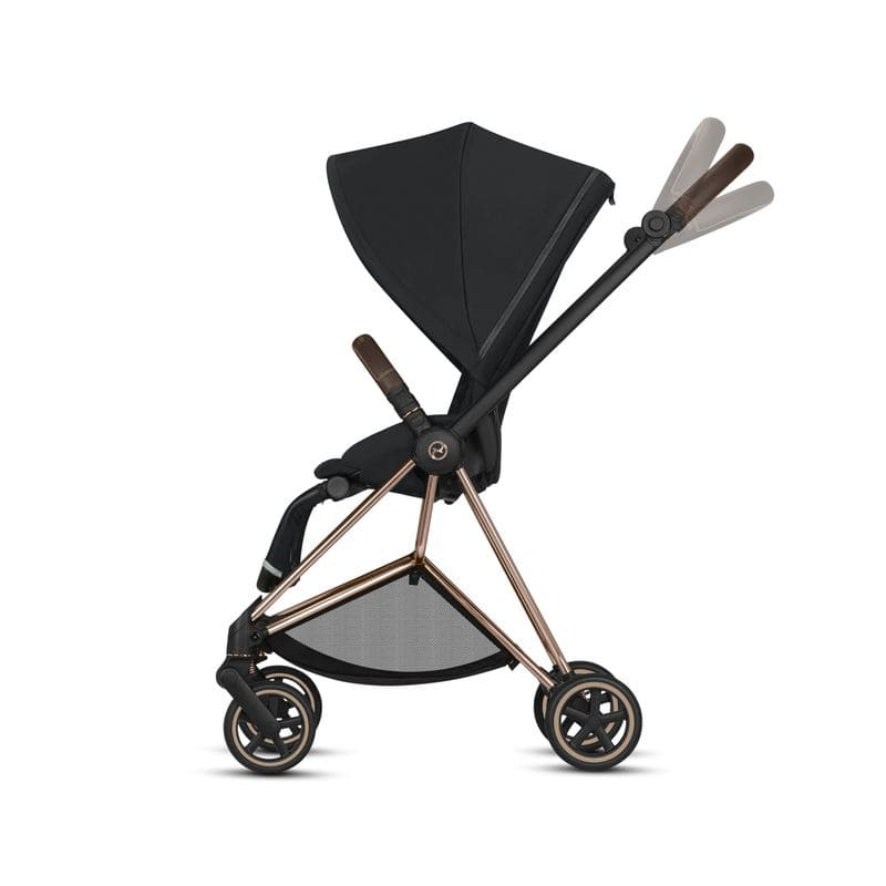 Poussette Mios chassis rose gold siege premium black guidon reglable Cybex BamBinou
