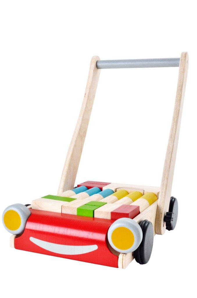 Chariot de marche et blocs de construction Plan Toys Bambinou