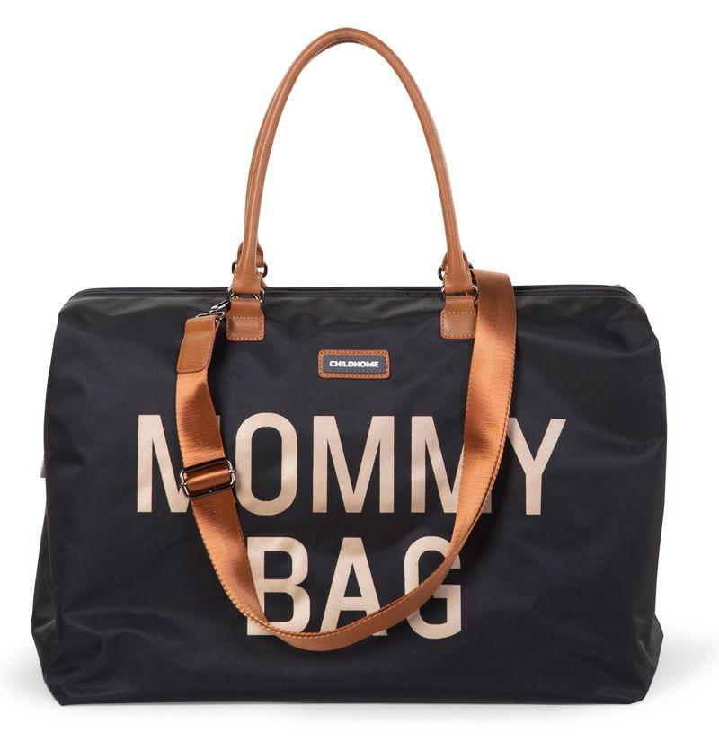Sac à langer Mommy Bag Noir/Or Childhome Sangle