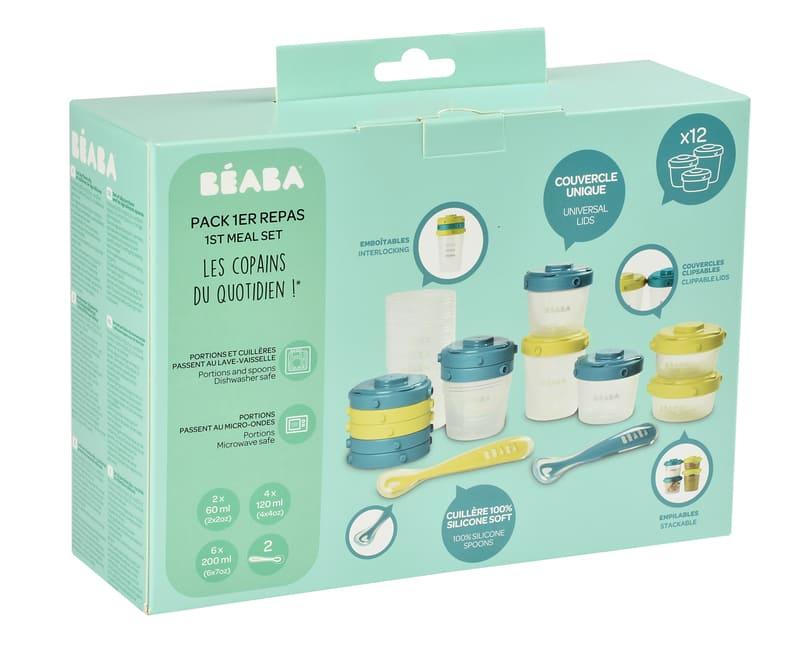 Set premier repas bébé Bleu/Vert Béaba Packaging