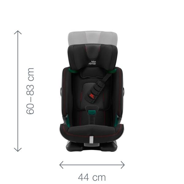 Siège-auto Advansafix i-Size groupe 1/2/3 Britax Römer dimensions de face