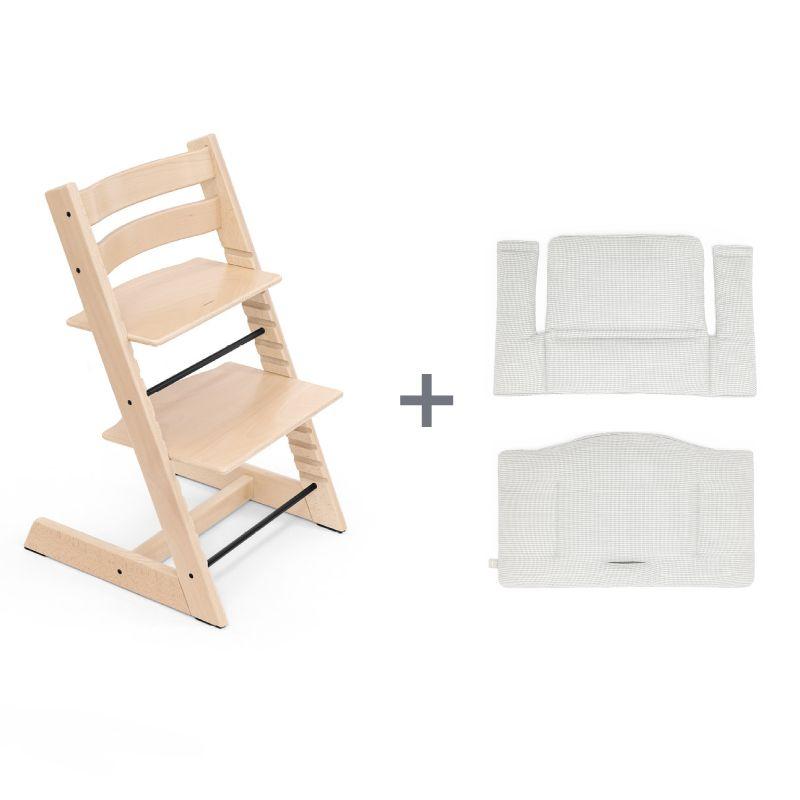 Chaise haute classique et coussin coton bio Tripp TrappStokke