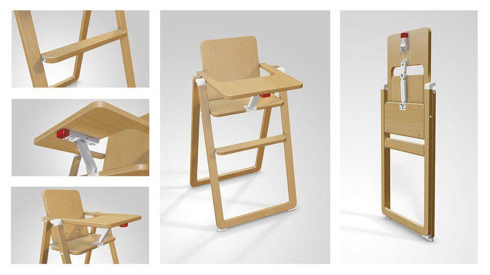 Chaise haute pliante Supaflat hêtre BamBinou