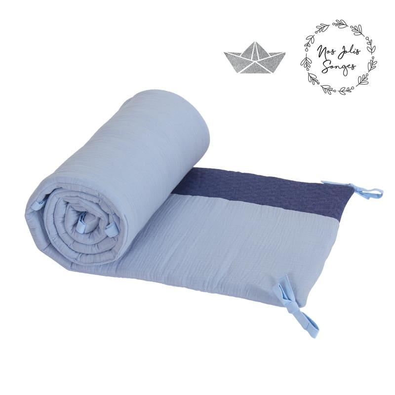 Tour de lit jersey matelassé Bleu Candide 2