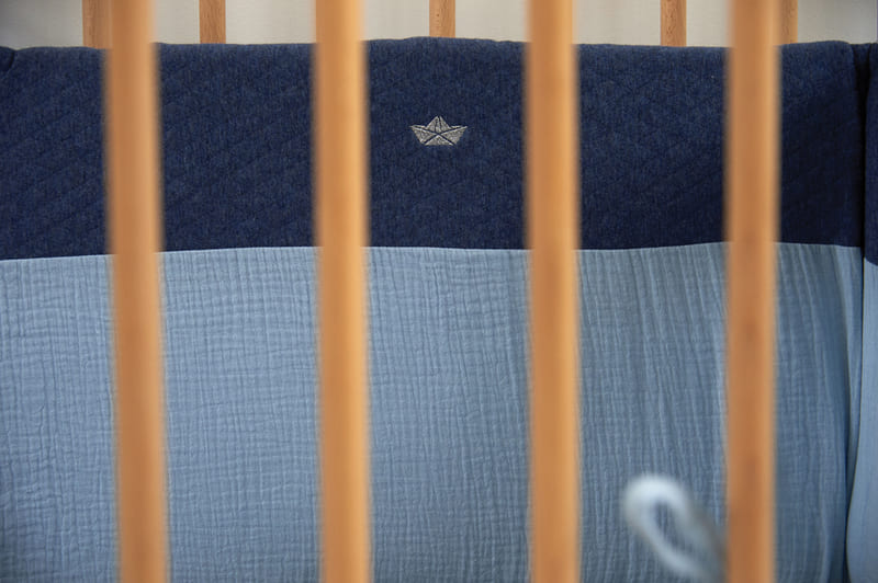 Tour de lit jersey matelassé Bleu Candide 3
