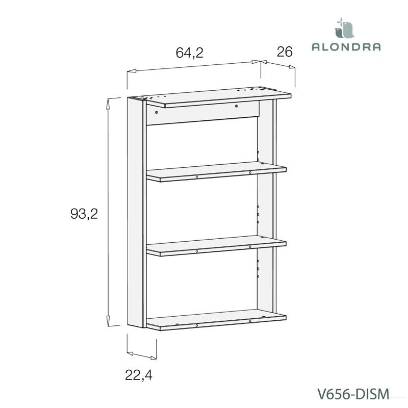 Plan à langer pour commode Premium Kurve Alondra dimensions étagère