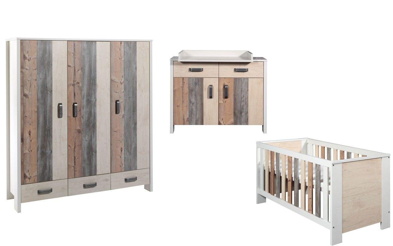 Chambre Woody : lit kit-transfo commode armoire 3 portes Schardt BamBinou